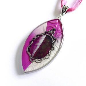 Růžový náhrdelník s dračím achátem