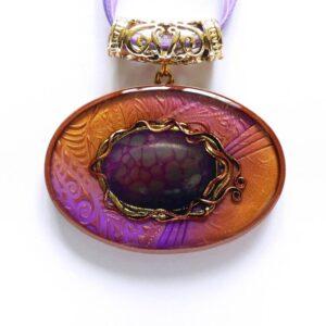 Náhrdelník fialový s dračím achátem