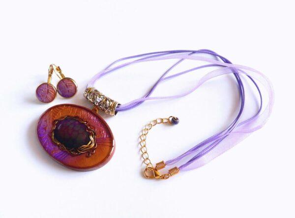 Náhrdelník fialový s dračím achátem s náušnicemi