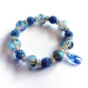 Modrý náramek, Shamballa korálky a skleněné korálky Kočičí oči