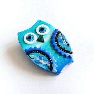 Brož, moudrá sova v barvě modré