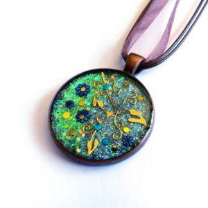 Kulatý zeleno modrý náhrdelník