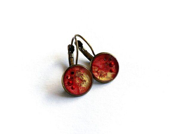 Náušnice červeno hnědé