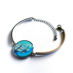 Modrý náramek s lůžkem z oceli