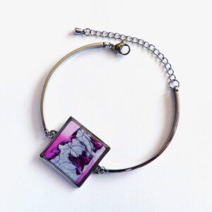 Růžový náramek z oceli s lůžkem
