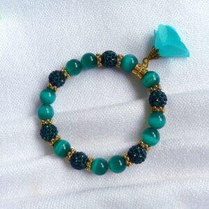 Zelený náramek, Shamballa korálky a skleněné korálky Kočičí oči