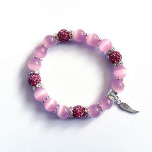 Růžový náramek, Shamballa korálky a skleněné korálky Kočičí oči