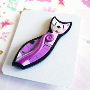 Brož růžová kočička