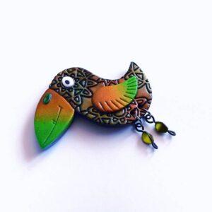 Brož ptáček zeleno hnědý