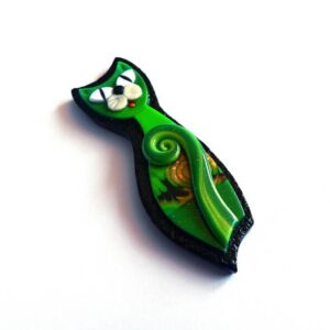 Brož kočička zelená