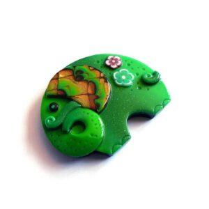 Brož slon zelený