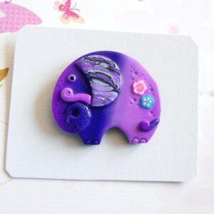 Brož fialový slon