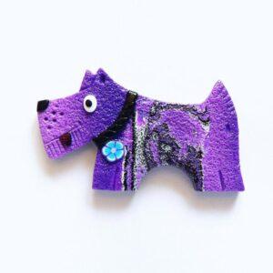 Brož fialový pejsek