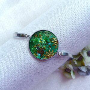 Náramek zelený z oceli
