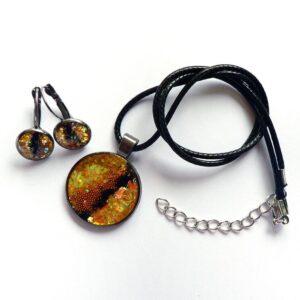 Souprava žluto černá, náušnice s náhrdelníkem