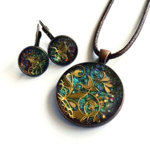 Zeleno tyrkysová souprava, náhrdelník a náušnice
