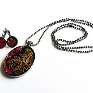 Souprava, náhrdelník černo červený třpytivý s náušnicemi