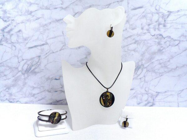 Černo hnědý náhrdelník v soupravě s náušnicemi a náramkem