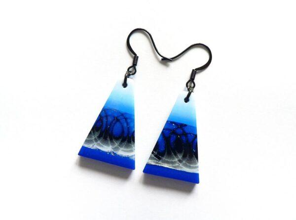 Visací tmavě modré náušnice