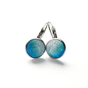 Náušnice z oceli s modrým lůžkem