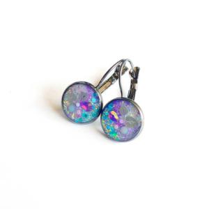 Náušnice lůžkové modro fialové
